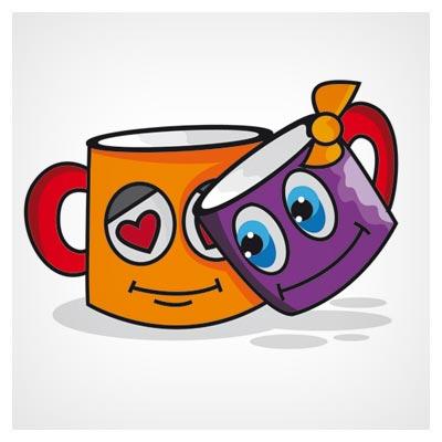 فایل رایگان وکتوری لیوان های عاشق (Valentine Day Cups Love Cartoon Vector)