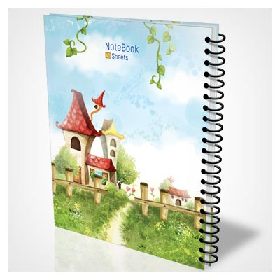 فایل PSD آماده جلد دفترچه مشق با طرح منظره کارتونی