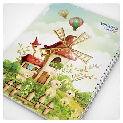 فایل آماده جلد دفترچه با طرح منظره کارتونی بصورت لایه باز