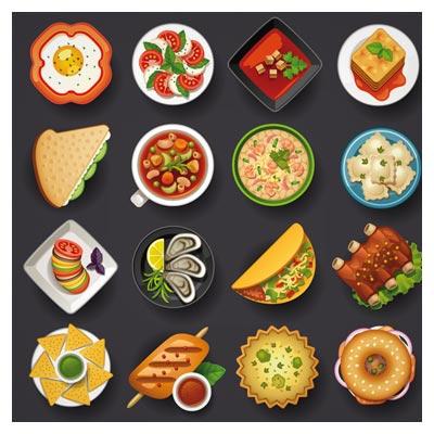 مجموعه آیکون های وکتوری غذاهای متنوع (Different Food icons set vector)