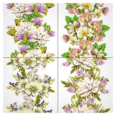 وکتور مجموعه چهار گل زیبا (Elegance Flowers Pattern Seamless Vector Material(