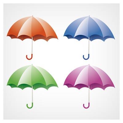 وکتور مجموعه چترهای رنگی زیبا بصورت لایه باز
