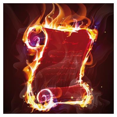 دانلود رایگان وکتور تومار آتش گرفته با پس زمینه سیاه