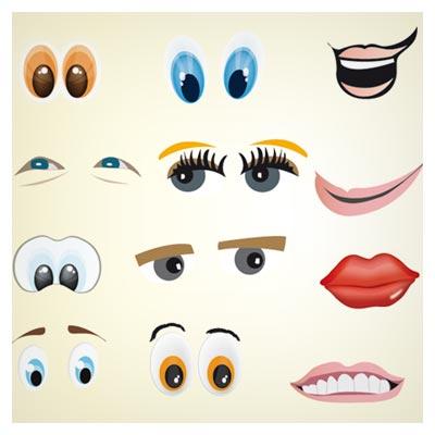 وکتور مجموعه متنوع لب ، دندان و چشم کارتونی