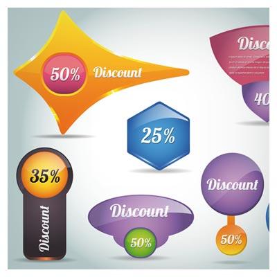 وکتور مجموعه لیبل های رنگی تخفیف سه بعدی (Creative Discount Labels Vector)
