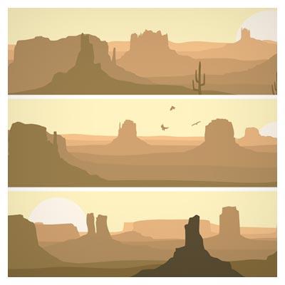 وکتور مجموعه بنرهای بیابان و صحرای متروک (Desolate Desert Banners Vector)