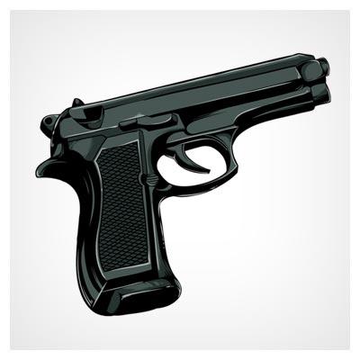 وکتور اسلحه و کلت کمری بصورت لایه باز (Free Vector Gun)