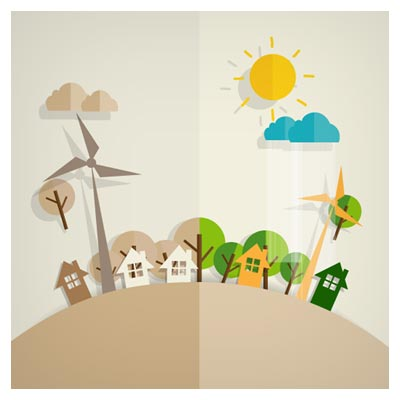 تصویر کارتونی شهر ، طبیعت و اکولوژی (Eco Friendly Love Nature Vector Template)