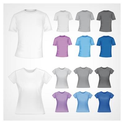 وکتور مجموعه لباس و تیشرت های مردانه و زنانه (set with men and women polo shirts)