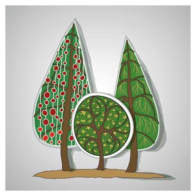 وکتور کلیپ آرت و کارتونی درخت های مختلف (Cartoon tree free vector download)
