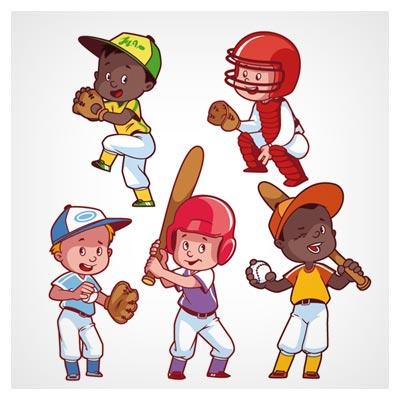 وکتور مجموعه کاراکترهای کارتونی پسر بچه بیس بالیست (Kids Playing Baseball Clip Art)