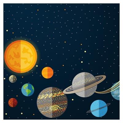 بکگراند کارتونی سفر به فضا با سبک طراحی فلت (Outer Space Cartoon Background Vector)