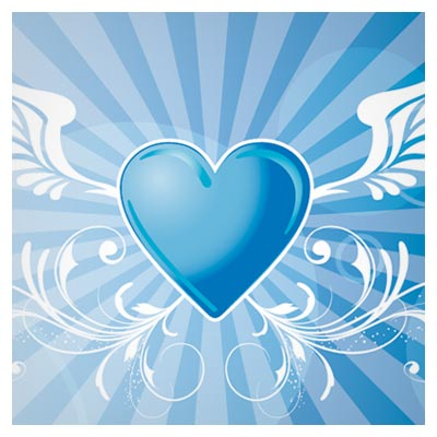 طرح وکتوری فانتزی قلب بالدار با زمینه آبی (Free Vector Winged Heart Background)