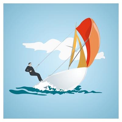 پس زمینه کارتونی قایق بادبانی