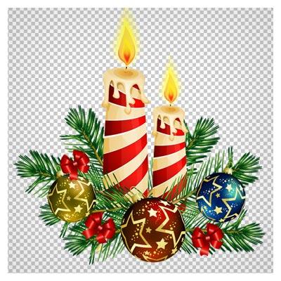 فایل بدون زمینه شمع ، برگ های درخت کاج (کریسمس)