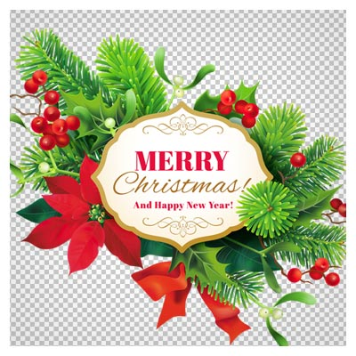 فایل دوربری شده بنر کریسمس با گل و برگهای تزئینی سبز (بدون پس زمینه PNG)