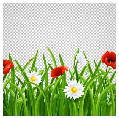 فایل با کیفیت PNG (دوربری شده) چمن و گلهای لاله کارتونی