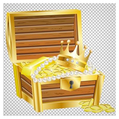 فایل PNG صندوقچه کارتونی گنج (صندوق قدیمی طلا و سکه)