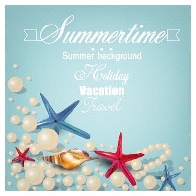 وکتور بنر تابستانی (ستاره دریایی و صدف)(Beautiful Beach Vector Background)