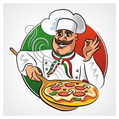 وکتور کاراکتر آشپزباشی (پختن پیتزا)(Funny Chef With Pizza Vector Material)