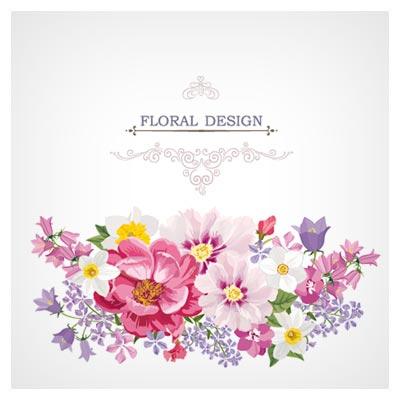 فایل لایه باز پس زمینه با گل های زیبای نقاشی شده