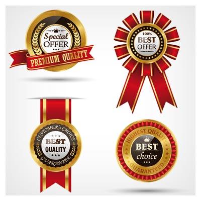مجموعه لیبل های طلایی با روبان قرمز با فرمت وکتور (Golden Quality labels with red ribbon vector)