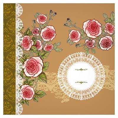 وکتور پس زمینه و بنر با طرح گل های رز
