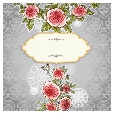 طرح بنر وکتور (پس زمینه) با گل های زیبای رز (Hand Painted Rose Vector Background)