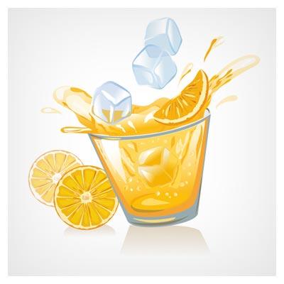 وکتور لیوان لیموناد (آب پرتقال) و تکه های یخ (lemon juice material vector set)