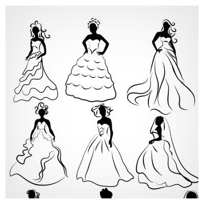 مجموعه کلیپ آرت های وکتوری لباس عروس در شکل های مختلف