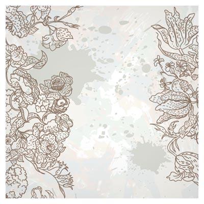 پس زمینه رایگان با طرح گل های خطی (Floral line art free vector download)