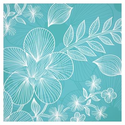 بکگراند وکتور آبی با نقش گل های خطی (Lines Of Flowers Background Free Vector)