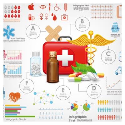 فایل رایگان اینفوگرافی با موضوع دارو و اطلاعات پزشکی (Medical Medical Data infographics vector)