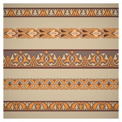 وکتور مجموعه طرحهای کنگره و حاشیه بدون مرز (Ornaments Tiling Borders Seamless Vectors)