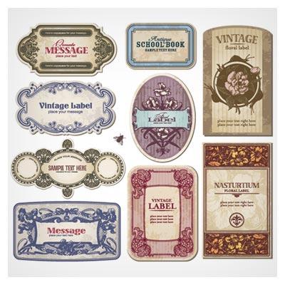 وکتور مجموعه لیبل های قدیمی (Ornate Vintage Labels Grunge Vector)
