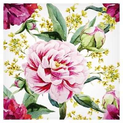 پترن و پس زمینه با طرح گل های رز آبرنگی (Peony Watercolor Drawn Seamless Pattern Vector)