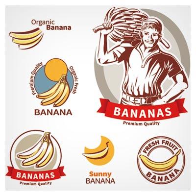 مجموعه لیبل های لایه باز با موضوع برچسب کیفیت موز (Premium Quality banana labels vector set)
