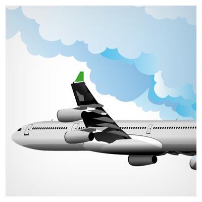 وکتور لایه باز هواپیما در آسمان (Free vector realistic clouds free vector download)