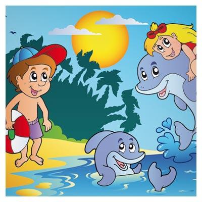 دانلود فایل کارتونی بازی بچه ها در ساحل با دلفین ها