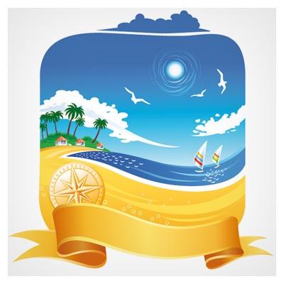 تصویر کارتونی ساحل دریا با فرمت وکتور (Cartoon Beach Scene)