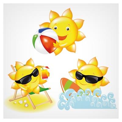 وکتور مجموعه کاراکترهای کارتونی خورشید (Vector Clip Art of Sun With Beach Ball)