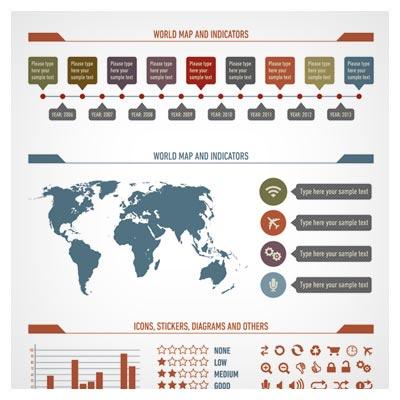 وکتور کارتونی اینفوگرافی آمارهای جهانی (Data Table Graphic Design)
