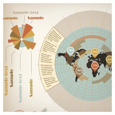 فایل وکتور اینفوگرافی نقشه جهان و نمایش آمار (Demographic Infographic Vector)