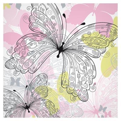 وکتور پس زمینه پترن با طرح پروانه های خطی (Floral and butterfly Pattern Free vector)