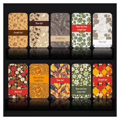 فایل لایه باز مجموعه کارت های رنگی پترن دار (Set Of color Floral cards vector)
