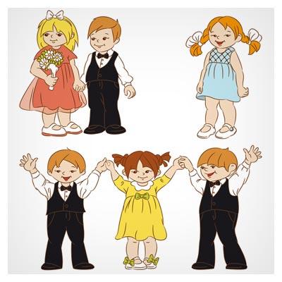 وکتور کارتونی مجموعه بچه های عاشق (Set of cute cartoon children vector)