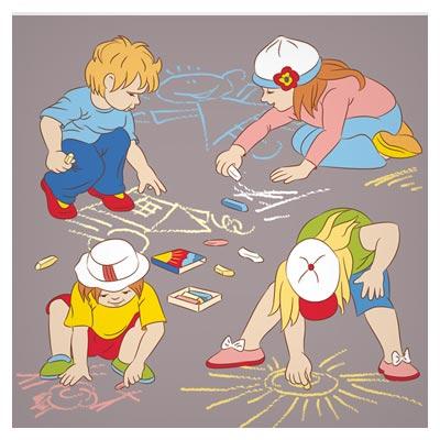 فایل لایه باز وکتور کارتونی بازی بچه ها با گچ (Cartoon pictures of children playing free vector download)