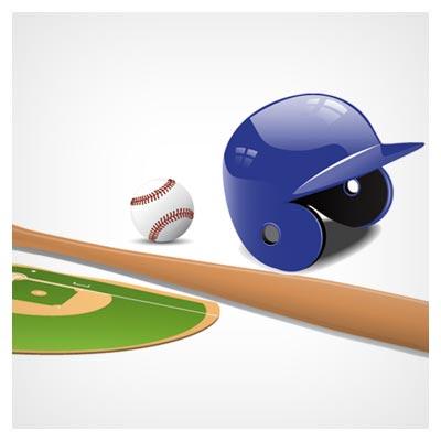 وکتور وسایل ورزش بیسبال بصورت لایه باز (Vector Set Of Baseball Fields Elements)