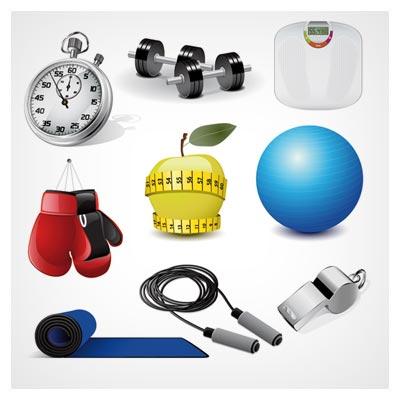وکتور رایگان مجموعه وسایل ورزش و سلامت (sports equipment vector set)
