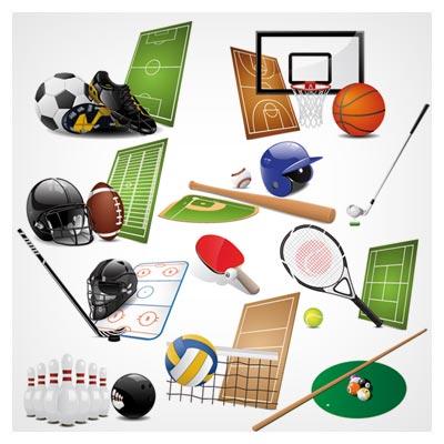 وکتور لایه باز مجموعه ابزار و وسایل ورزشی متنوع (sports equipment vector set)